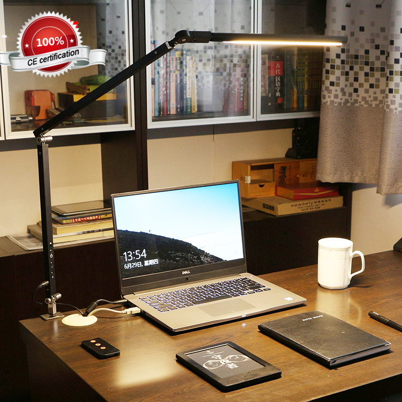 Modern 8W Clamp Long Arm Desk Lamp 3 Brightness Dimming Folding Adjustable LED Modern Table Lamp