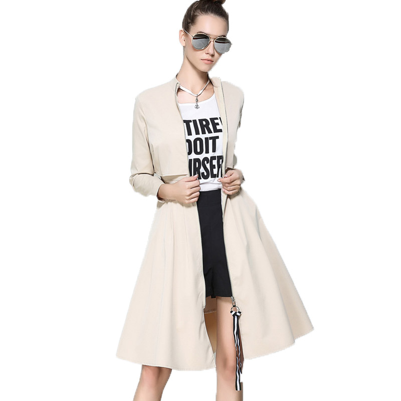 New Spring Trench Dress Women Fsahion Elegant Casaco Feminino Slim Long Sleeve A-line Trench Coat 2017 Plus Size Long Overcoat