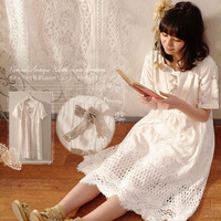 Spring Mori Girl Sweet Dress Women Floral Embroidery Hollow Out Bow Cotton Solid White Short Sleeve Female Kawaii Dress A117