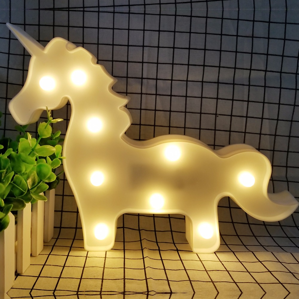 AmmToo 3D Cute Pony Led Night Light Animal Marquee Lamps On Wall ...