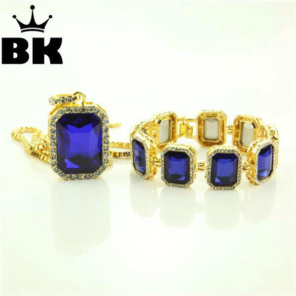 Mens Hip Hop Necklace   Bracelet Set Gold Tone Iced Out Square Blue Black  Color Stone Pendant Box Chain Necklace   8.2
