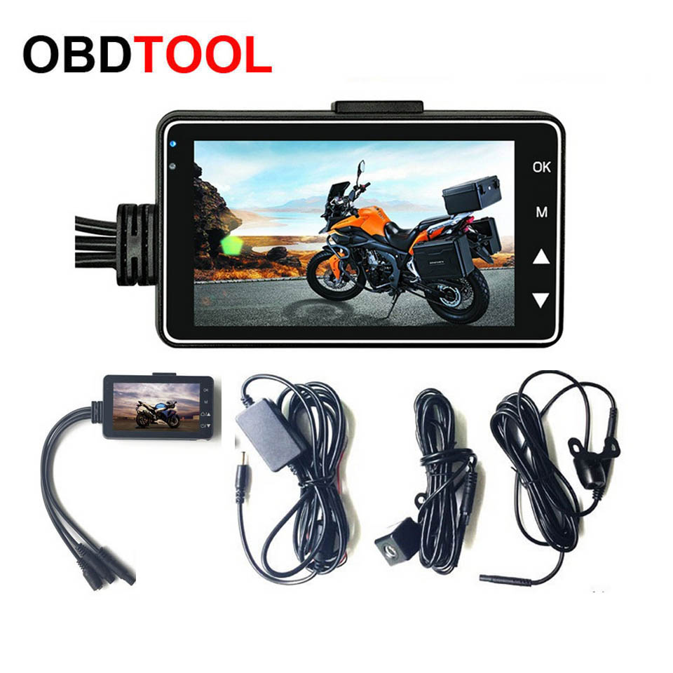 "3"" 1080P HD Motorcycle Camera DVR Motor Dash Cam with Special Dual-track Front Rear Recorder Dual Lens HD 3 inch Camcorder"