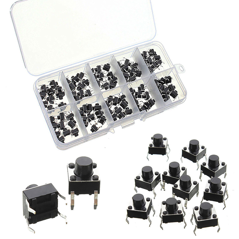 100pcs 4Pin Micro Tactile Push Button Switch Momentary Miniature Tact Pushbutton Switches 6x6x5mm 50pcs lot 6x6x5mm 4pin g90 tactile tact push button micro switch direct self reset dip top copper free shipping russia