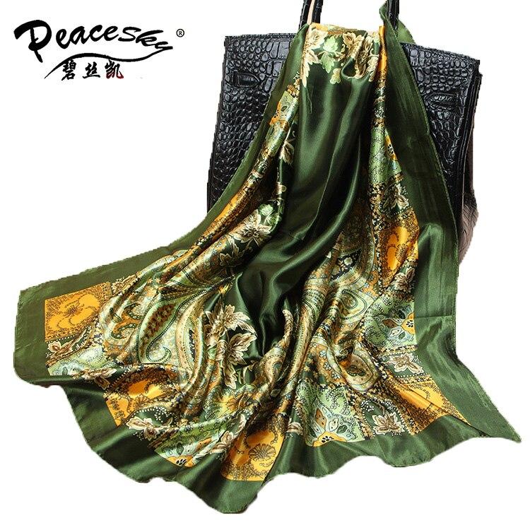 90cm*90cm 2016 Big Size Silk Square Scarf Women Fashion