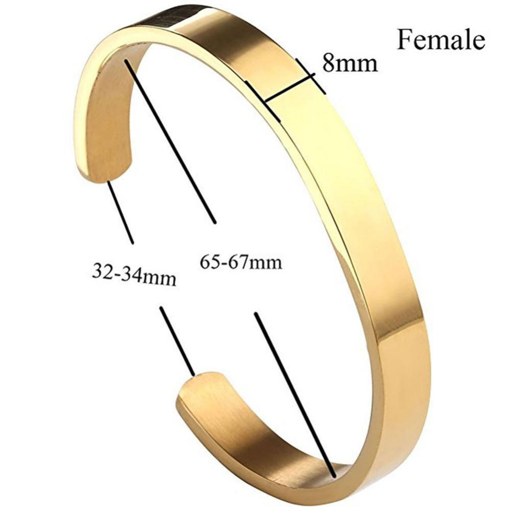 3 Color Personalised Gifts Sale Bangles Jewelry Stainless Steel 6mm 8mm Men Jewelry Cuff Couple Black Gold Open Bracelets 2018