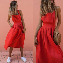 Dress Women Rushed New Polyester Vestido De Festa 2019 Summer Woman Sexy Openwork Bandage Cross Solid Color Halter Female