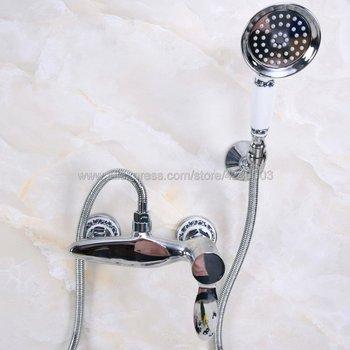 Polished Chrome Wall Mounted Bath & Shower Faucets Bathroom Bath Handheld Shower Tap Kna273