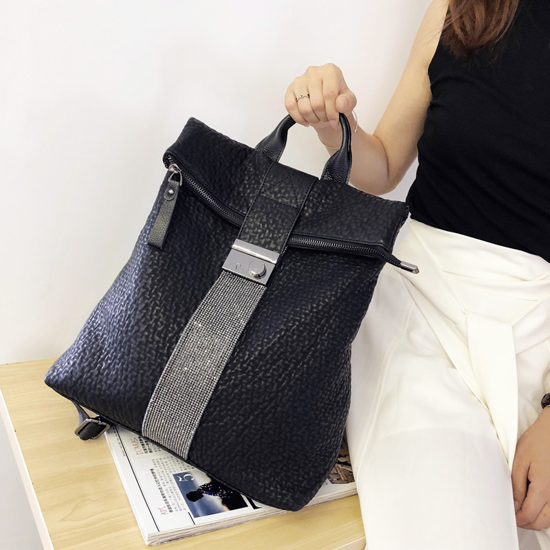 Leather  Luxury Backpack Diamonds Women Sequin Black Genuine Cute Fashion