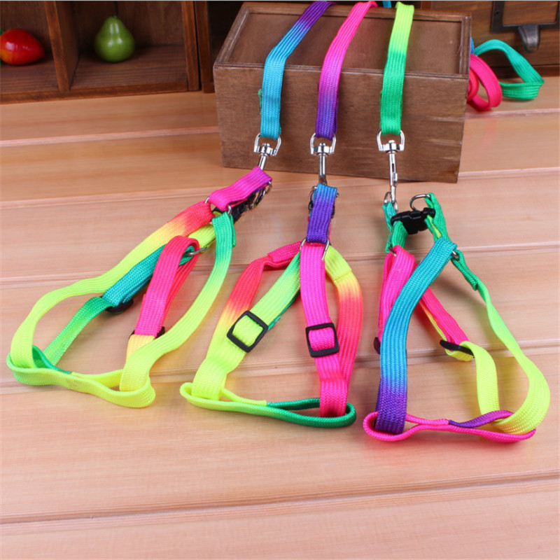Colorful Rainbow Pet Dog Collar Harness Leash Soft Walking