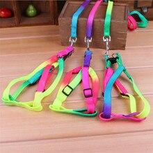 Цветной Радужный ошейник для питомца собаки, поводок, мягкий поводок для прогулок, яркий и прочный поводок из нейлона 120 см