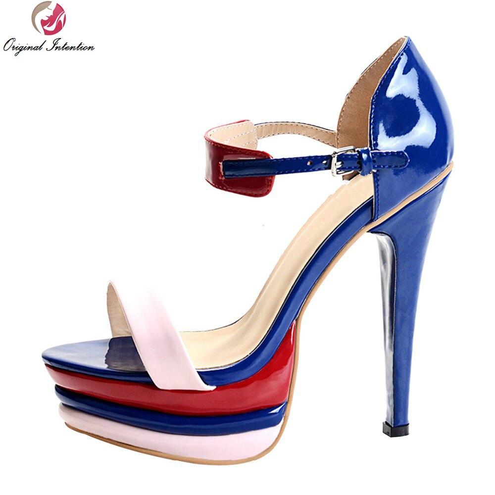 ФОТО Original Intention New Stylish Women Sandals Platform Spike Heels Sandals Blue High-quality Shoes Woman Plus Size