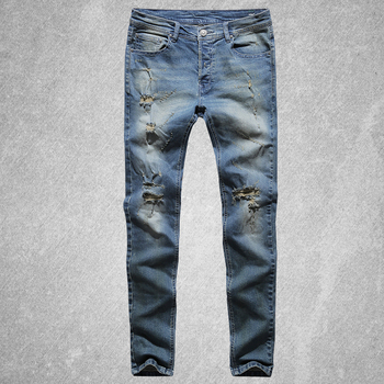 Ripped Holes Stretch Jeans 2