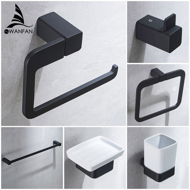 Bathroom Series European Modern Bathroom Hardware Toilet Paper Holder Cup  Holder Soap Dish Robe Hook WF