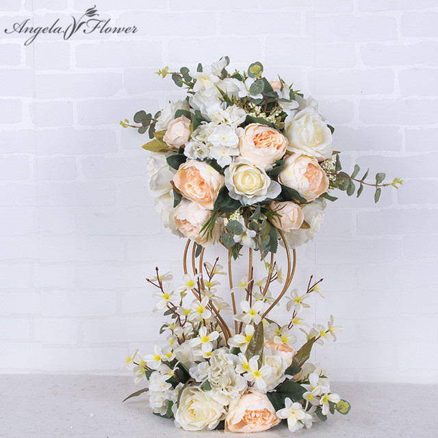 Luxury customization wedding dining table flower ball Road cited flowers Window decoration with bottom decorative flowers
