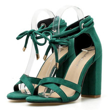 Women Sandals Summer Lace-Up Fashion High Heels Peep Toe Shoes Female Square Heel Ladies Sandals Green Black Size 35-40 ladies transparent square high heel sandals sexy peep toe mesh ankle boots summer high heels sandals women size 34 40