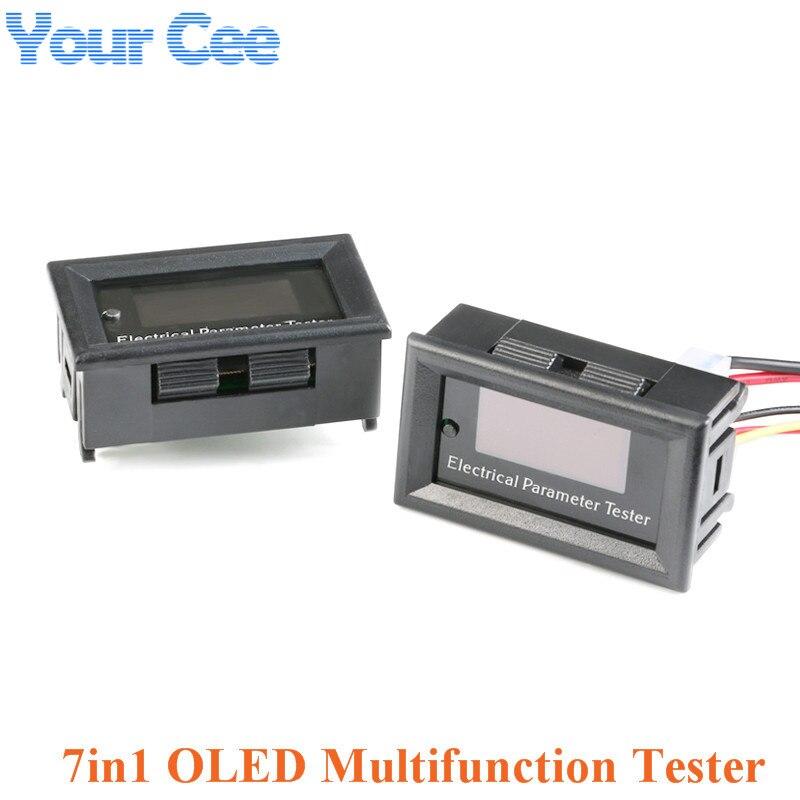 7in1 OLED Blue Font Multifunction Tester Voltage Current Power Capacity Energy Time Temperature Meter Voltmeter Ammeter 33V 3A