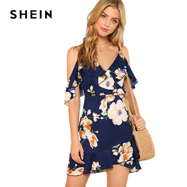 SHEIN Multicolor Vacation Backless Boho Bohemian Beach Flounce Cold Shoulder Floral Print Dress Summer Women Casual Dress 5
