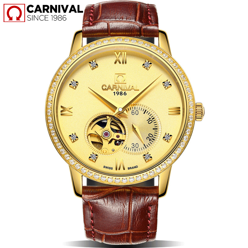 CARNIVAL Sapphire Crystal Skeleton Men Watche MIYOTA Movement Small Seconds TopBrand Luxury Leather waterproof Mechanical Montre rga r 981 sports watche red