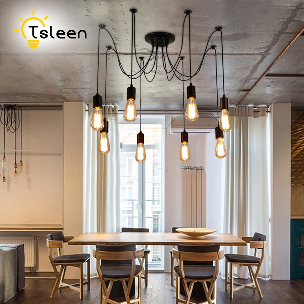 TSLEEN Adjustable Pendant Light 8 10 12 Heads Loft Fixture Lighting +Cool Warm White Edison Bulbs Spider Pendant Lamp Chandelier 9lights e27 diy ceiling spider pendant lamp shade light antique classic adjustable retro chandelier dining home lighting fixture