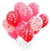 10 cái/lốc 12 Inch In Trái Tim Đầy Đủ Balloon Chất Lượng Cao Đám Cưới Cưới Valentine Balloons Trang Trí Nguồn Cung Cấp Bên FES6525