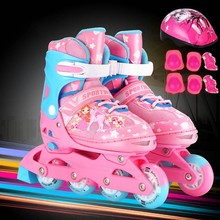 children's roller skates full set of boys and girls in-line round of roller-skating shoes can be adjusted double-row round