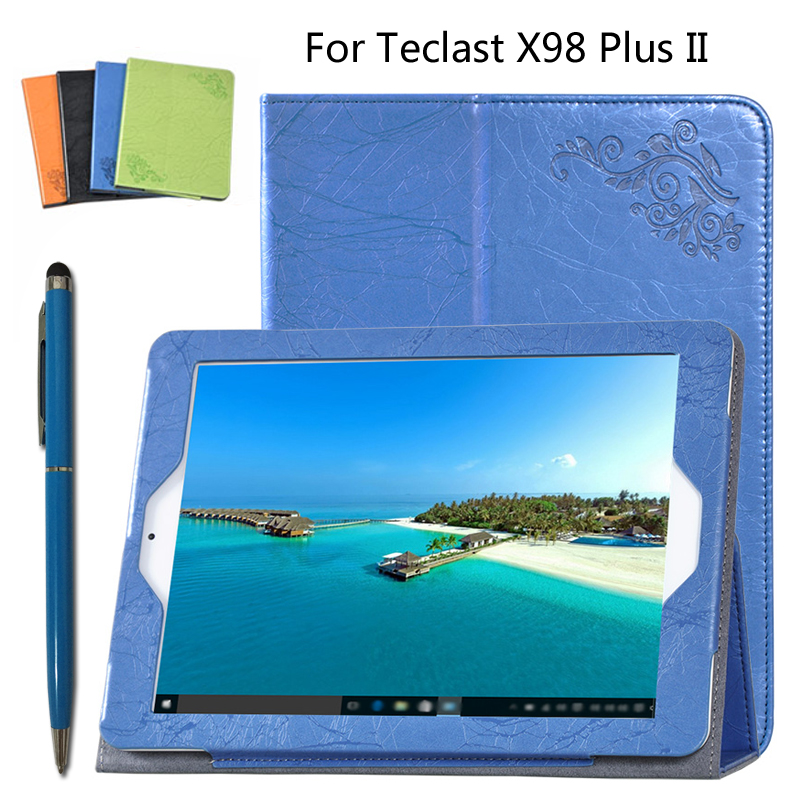 For Teclast PU protective Leather Case Protective Shell/Skin For Teclast X98 Plus II Tablet PC dormancy case 9.7 inch + Pen for cube pu protective leather case protective shell skin for cube iwork8 8 inch tablet pc case film pen