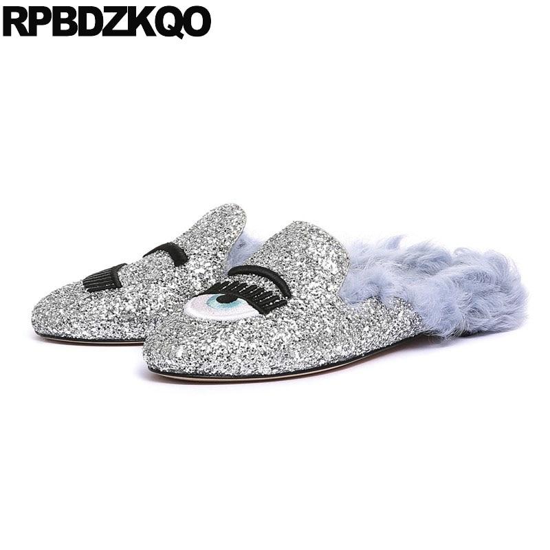 Shoes Ladies Round Toe Fashion Walking Brand Italian Designer Spring Autumn Flats  White Eyelash Rubber Sole ... 09fbfbc825ac