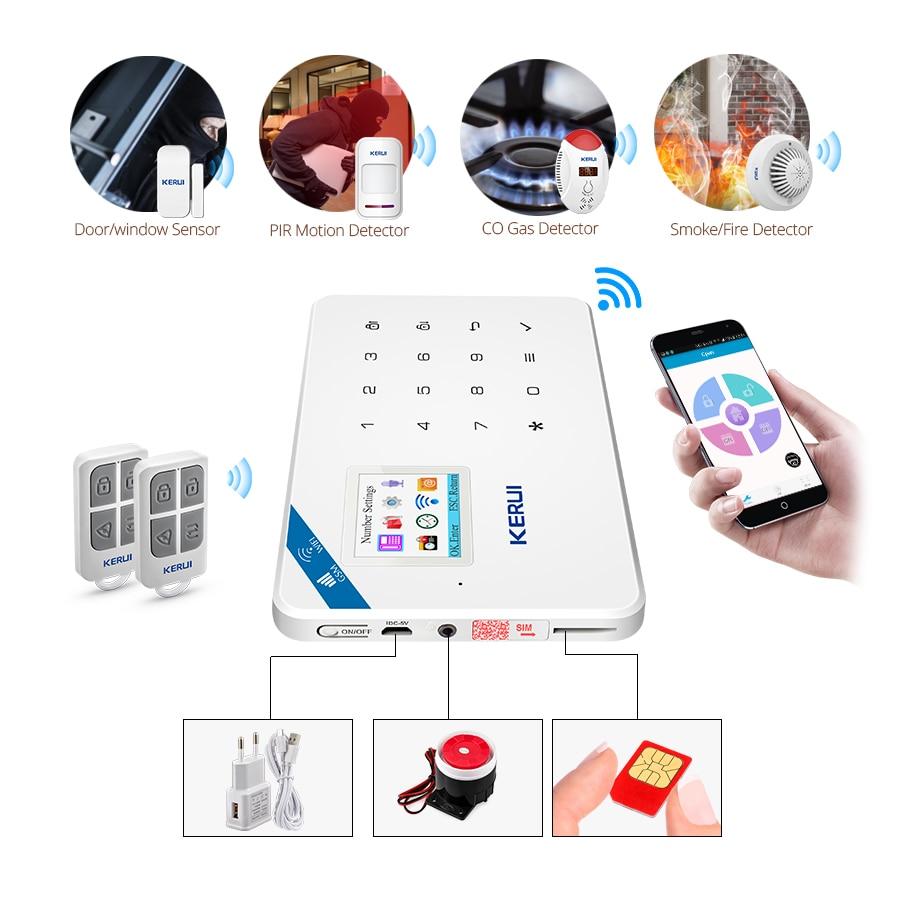 KERUI W18 pantalla TFT de 1,7 pulgadas WIFI GSM antirrobo casa Sistema de alarma de seguridad Detector de movimiento de la aplicación de Control de fuego Detector de humo alarma - 6
