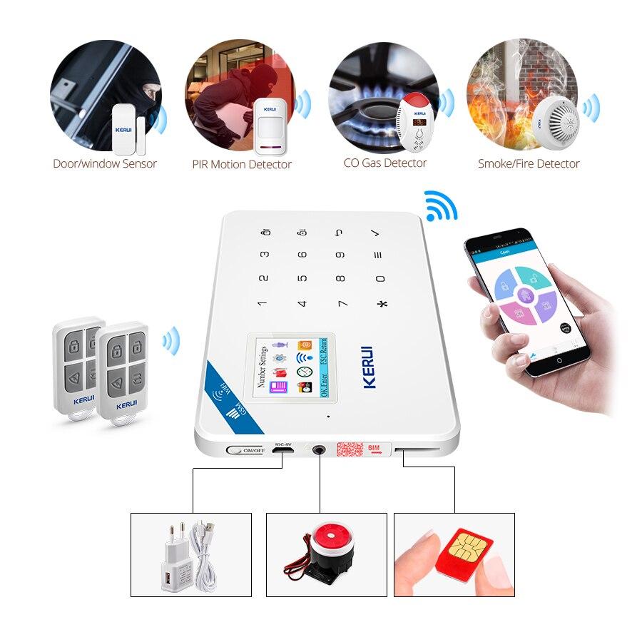 KERUI W18, pantalla TFT de 1,7 pulgadas, WIFI GSM, sistema de alarma de seguridad antirrobo para el hogar, Detector de movimiento, Control de aplicaciones, alarma detectora de humo de fuego - 6
