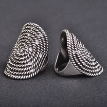 Unique Bohemia Round Rings For Women Vintage Silver Plated Mosaic Black Engagement Party Ring Crystal female Accessory anillo