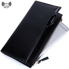 Big Capacity Mens RFID Blocking Long Wallet Bifold PU Leather Wallet. Business Purse With Removable Card Windows Slots.