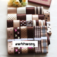 Free shipping 26 yards Champagne chocolate coffee style ribbon,Mix Style Printing Grosgrain Ribbon Bows Wedding Party Deco Craft
