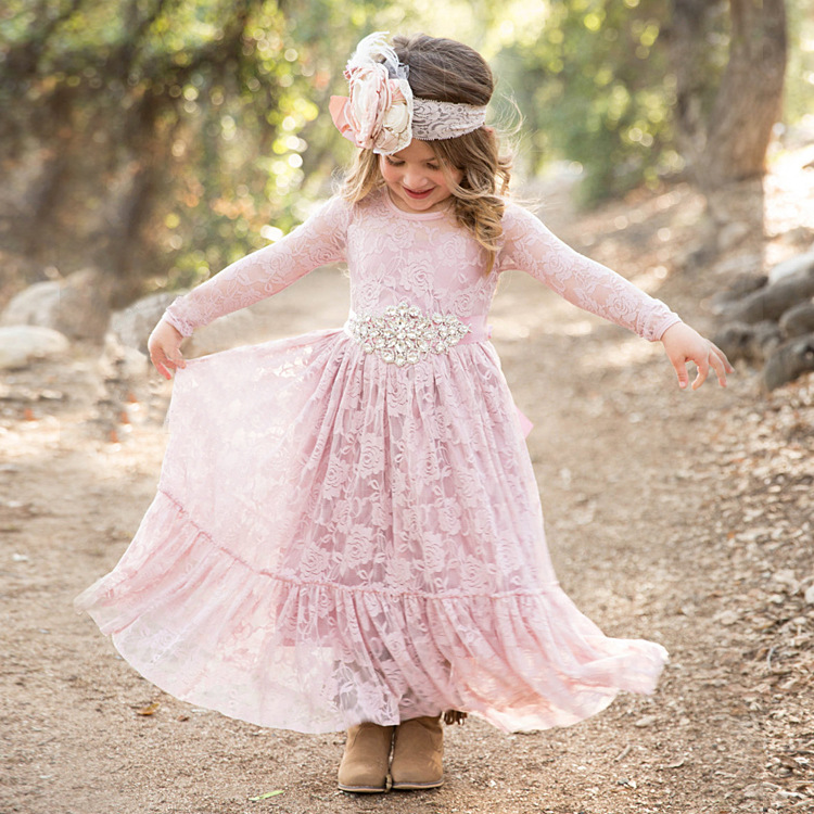 2017 Summer Long Sleeve Lace Girl Princess Party Dress Pink Prom Gowns Girls Wedding Birthday Full Dress Kids Children Clothes 2017 new summer children girl long sleeve lace dress kids clothes cotton child party princess tank girl dress sundress age 2 10y