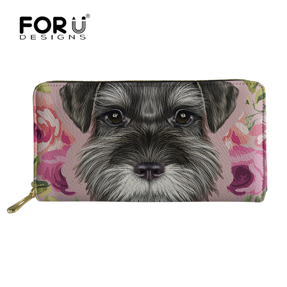 FORUDESIGNS 2018 Women Wallet Schnauzer 3D Printing Female Purse Split Zipper Multiple Card Phone Bags Handbag Carteira Feminina aelicy women wallet printing coins change girls purse clutch zipper zero phone key bags dropship new 2018 hot carteira feminina