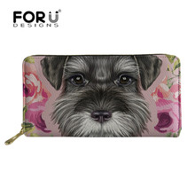FORUDESIGNS 2019 Women Wallet Schnauzer 3D Printing Female Purse Split Zipper Multiple Card Phone Bags Handbag Carteira Feminina