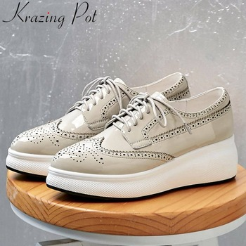 Krazing Pot newest British style Brogue shoes lace up genuine leather well-ventilated high bottom sneakers vulcanized shoes L9f6