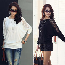 1PC Mulheres Ladies Solto Batwing Dolman Lace Manga Comprida Casual Top T Shirt S-XXL(China)