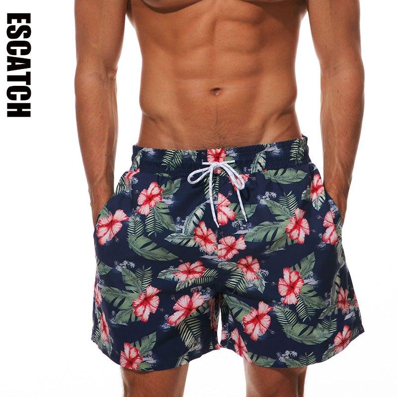 Brand Escatch   Board     Shorts   Men Swimwear Quick Dry Flower Sport Plus Size   Short   Mens Surfing Beachwear Boardshorts