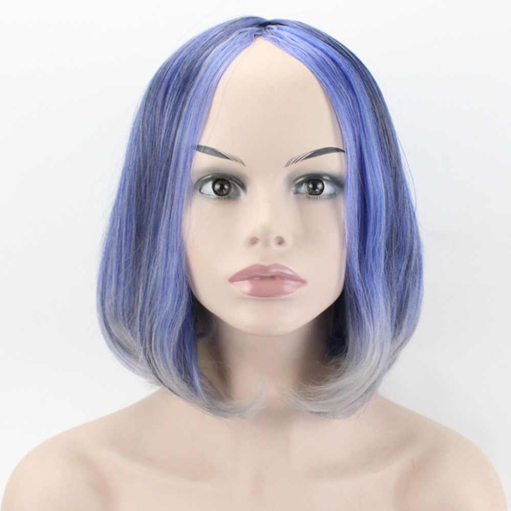 ALEGRIA & BELEZA 16 polegada Onda Curta Perucas de Cabelo Sintético de Fibra de Alta Temperatura 5 Cores Preto Azul Ouro Para Cosplay mulheres Peruca