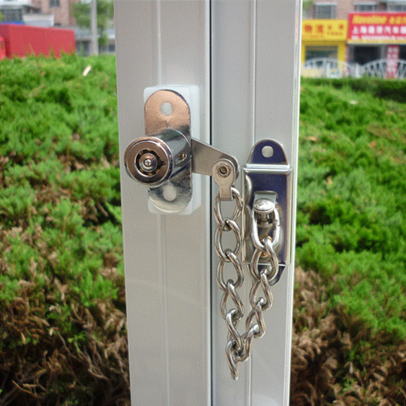 Window Security Chain Lock Door Restrictor Child Safety Stainless Anti-Theft Locks For Sliding Door Furniture Hardware thick anti theft security door lock window padlock bolt chain locks for wooden metal door furniture accessories hardware