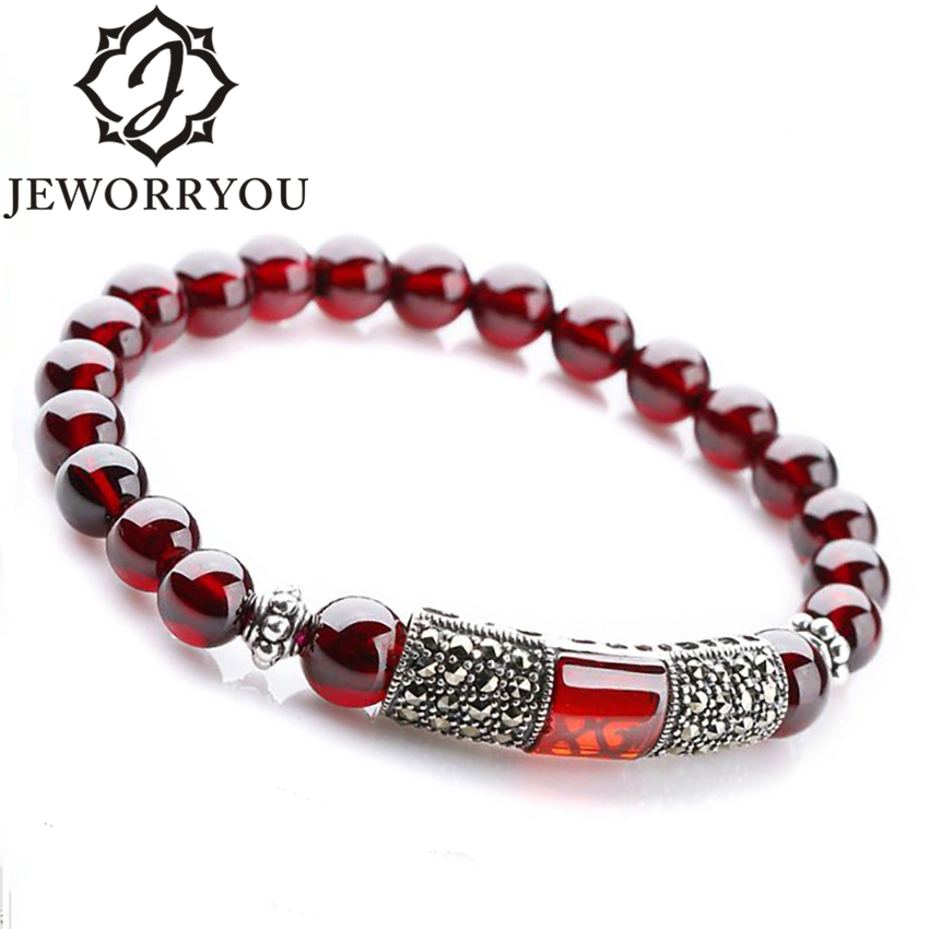 6-8mm Silver Bracelet 925 Women Natural Garnet Bracelet Wine Red Stone Bracelets Bangles Bracelets For Women Pulsera Hombre 4 6mm natural garnet wrap bracelet silver red wine charms bracelet round beads bracelets for women