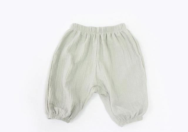 Estilo europeo de Crepé de Algodón Color Sólido Pantalones Ocasionales de Los Niños Cómodos Flojos 7 Pantalones Muchacha Del Muchacho de los Pantalones Anchos de La Pierna