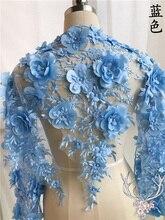 1Yard White Blue Pink Wedding Dress Lace Fabric 3D Chiffon Flowers Nail Bead Pearls High End European Free Shipping