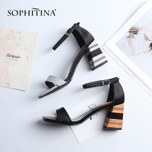 SOPHITINA Brand Leisure Women s Sandals Quality Genuine Leather Fashion Buckle Ladies Shoes 7cm High Striped Heel MO75