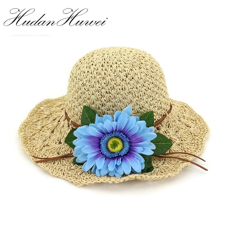 Summer Paper Straw Hand Hook Knitted Cap Women Wide Brim Sun Hats Handmade Flower Decoration for Fashion Ladies Beach Hat Sunhat