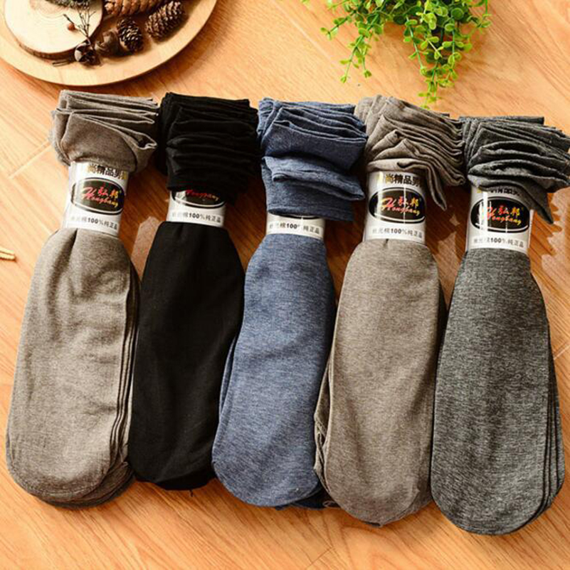 Spring and summer new mens mercerized cotton solid color tube socks Ultra-thin brand fashion business men socks