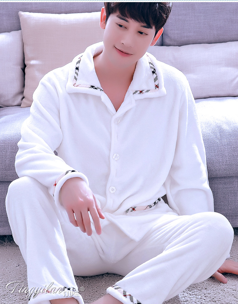 Sleepwear Mens Winter Flannel Pajamas Set Lattice Lapel Coral Velvet