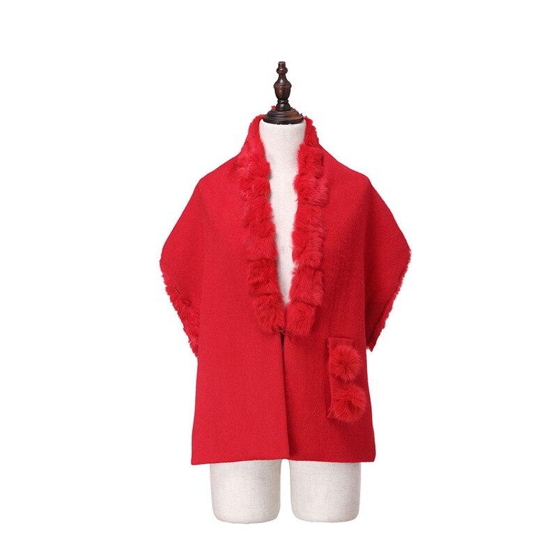 ZY87035 conception spéciale mode automne hiver écharpe en laine avec col de lapin de luxe femmes châle enveloppe Poncho solide