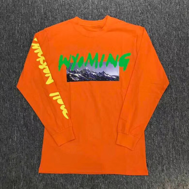 US $25 34 13% OFF|Top Quality streetwear Kanye west Mountain Wyoming print  L/S T Shirt-in T-Shirts from Men's Clothing on Aliexpress com | Alibaba