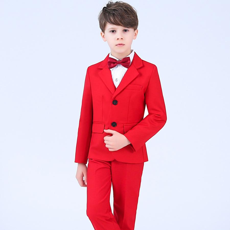Formal Children Dress Suits Set Spring Flower Boys Piano Party Prom Wedding Performance Costume Kids Blazer Shirts Pants Bowtie